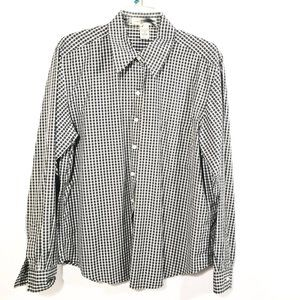 GEOFFREY BEENE Black White Plaid Button Down Shirt